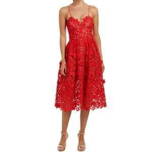 Self Portrait Red Azaelea Midi Dress